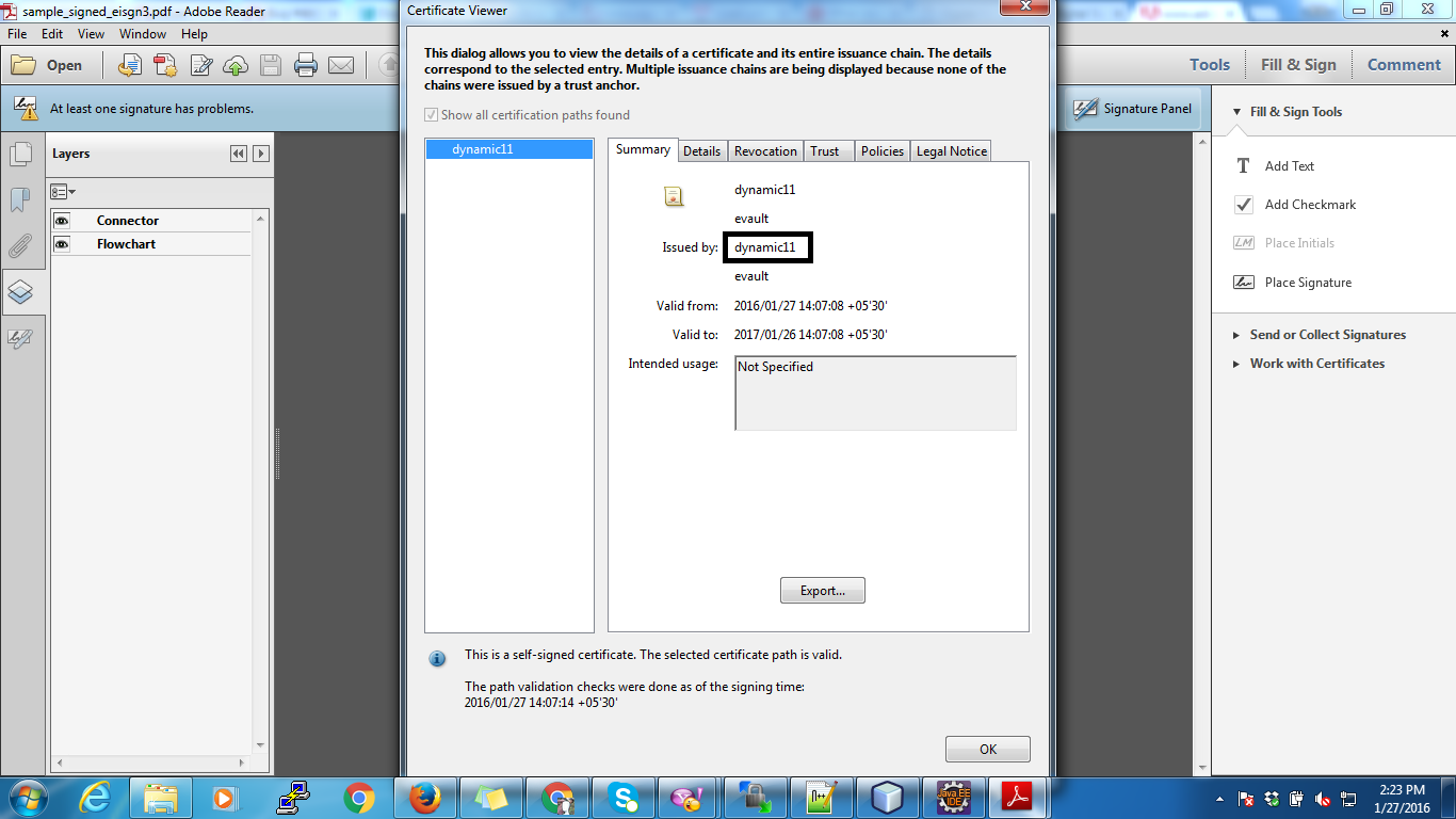 Issue with Digital Signature on pdf with  p12 file (General